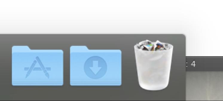 Applications folder in dock